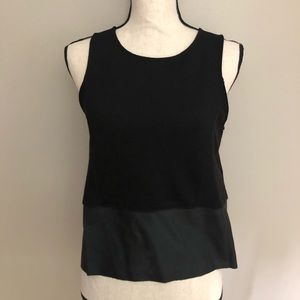Black Sleeveless Top with Faux leather accent